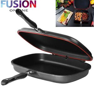 DOUBLE SIDED DIE-CAST GRILL FRYING PAN MAGIC FOLDABLE FLIPPING GRIDDLE 36 CM NEW