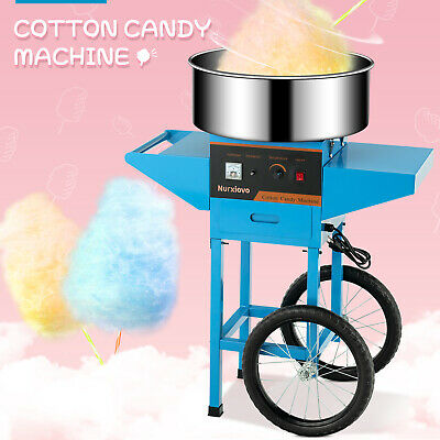 Cotton Candy Machine Electric Commercial Candy Floss Maker With Cart 20 Blue