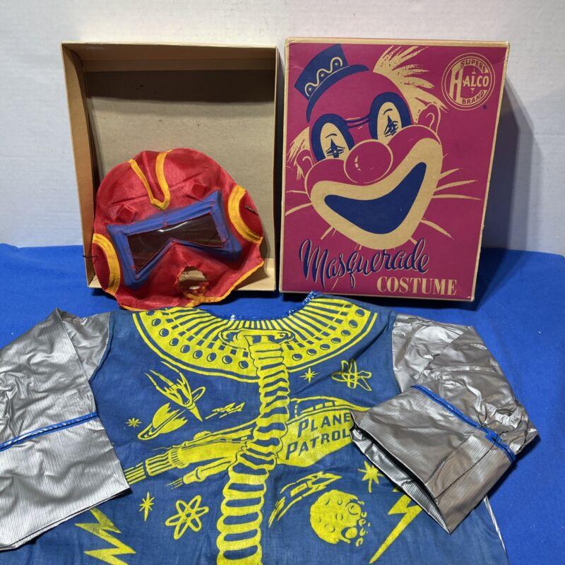 Vintage Halco Superb Masquerade Costume Space Man Blue Compete W/ Box