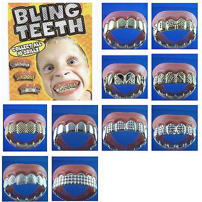 5 Bling Grill Grillz Fake Teeth Bulk Halloween Birthday Party Gold Silver New](Fake Gold Teeth Halloween)