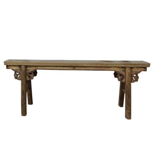 Vintage Chinese Slim Carving Apron Wood Seating Bench cs5491