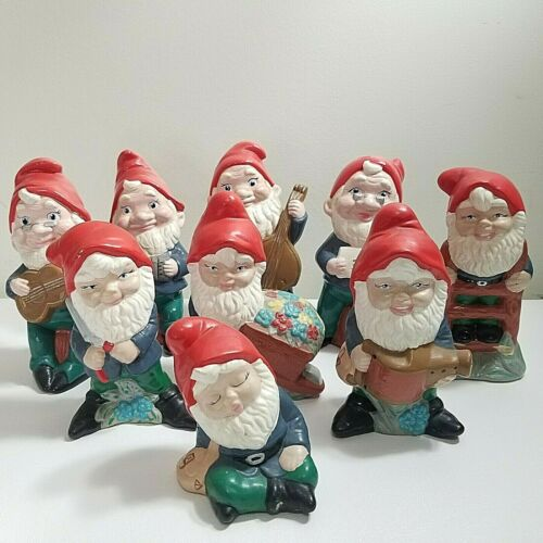 11 VTG Gnomes Hand Painted Fairy Garden Elves Lawn Yard Ornament Holiday Ceramic