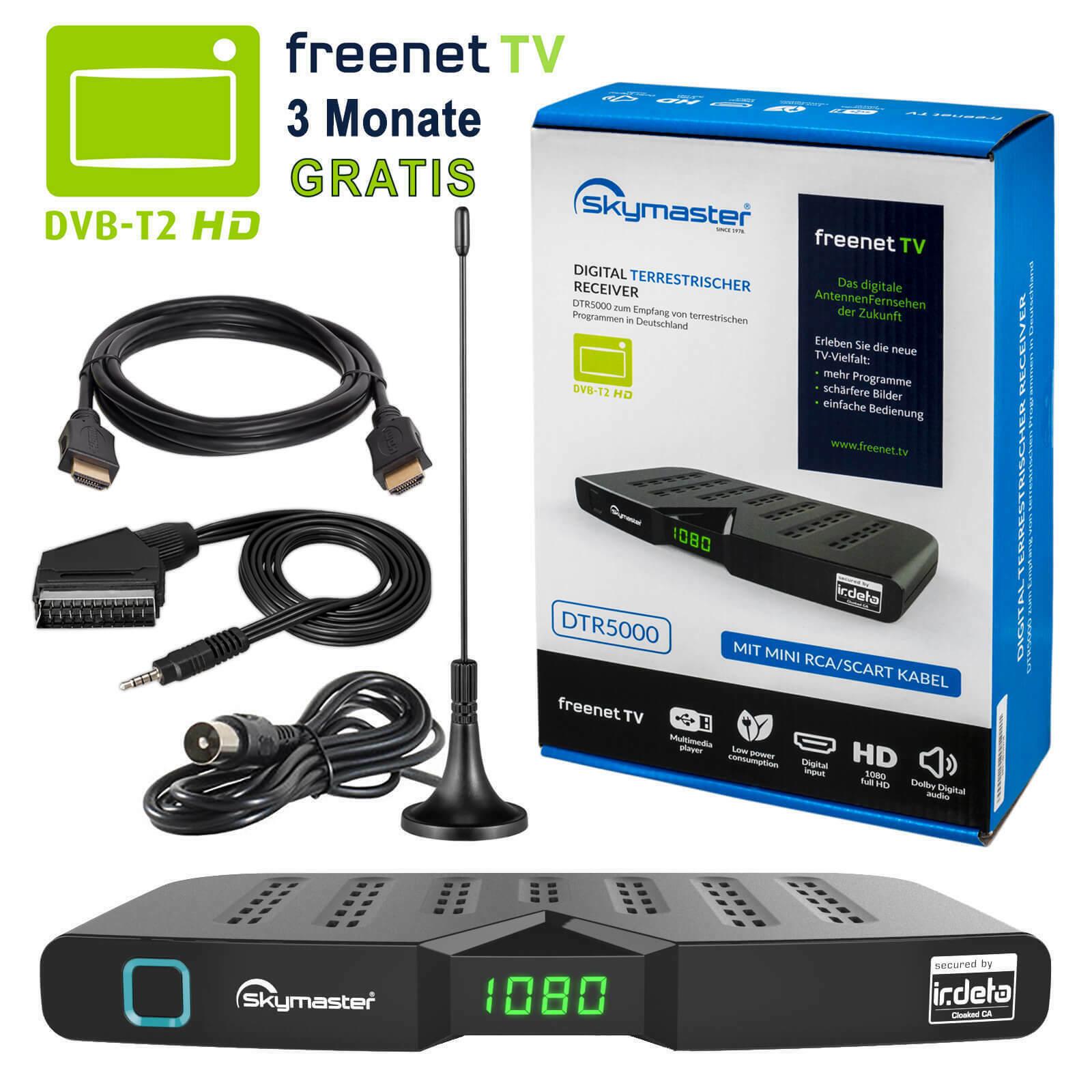 Freenet DVB-T2 FULL HDTV Terrestrisch Receiver Skymaster DTR5000 HEVC HDMI 3dB