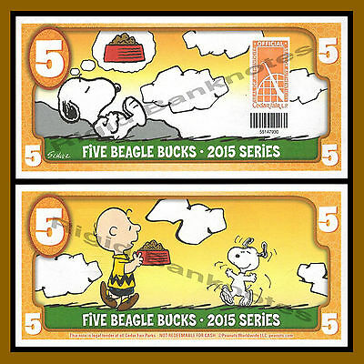 Cedar Fair 5 Beagle Buck  2015  Peanuts Snoopy Charlie Brown  Like Disney Dollar