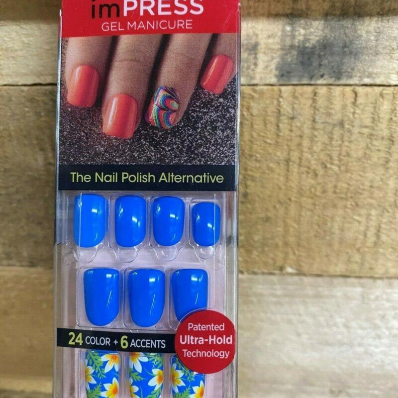 Impress Gel Manicure Press on Nails one step Blue Floral 66600 H32