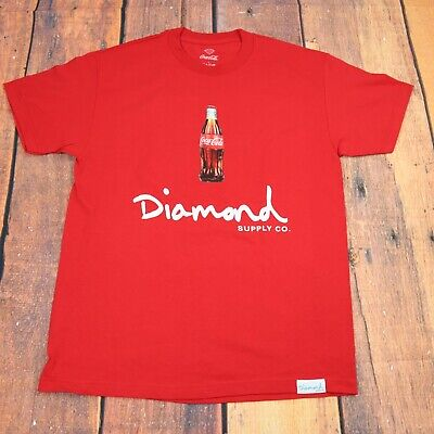 new diamond supply x coca cola t-shirt / coke red color tee /short sleeve shirt