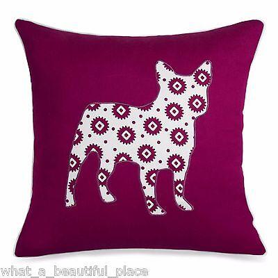 Bulldog Toss Pillow - Vortex Frenchie Decorative Toss Pillow Helix Bulldog Applique Purple White 18