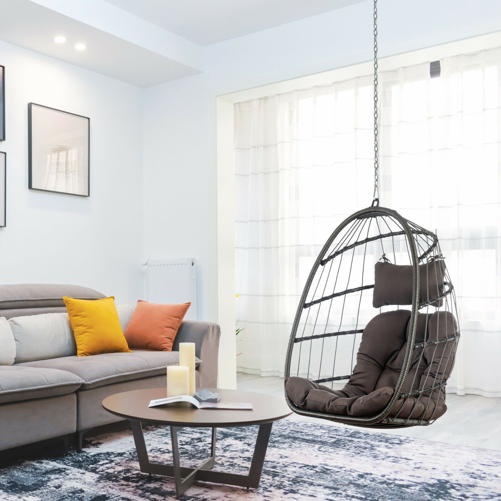 Hammock Egg Chair with Hanging Steel Chain without Stand In