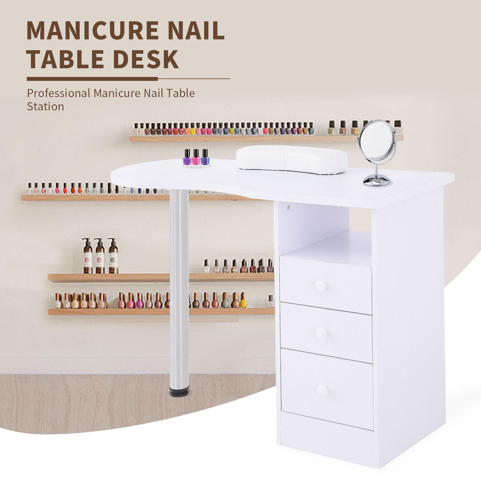 White Manicure Nail Table Station Desk Spa Salon Beauty Equipment w ...