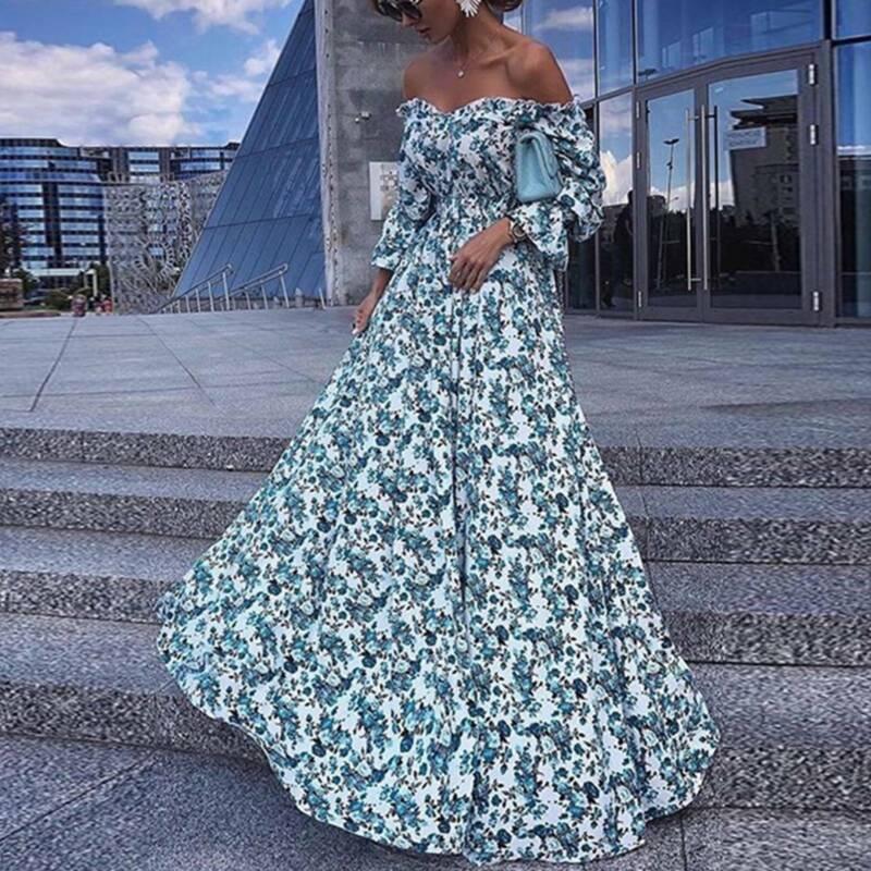 Damen Kleid Schulterfrei Langarm Partykleid Blumendruck Hochzeit Cocktailkleider