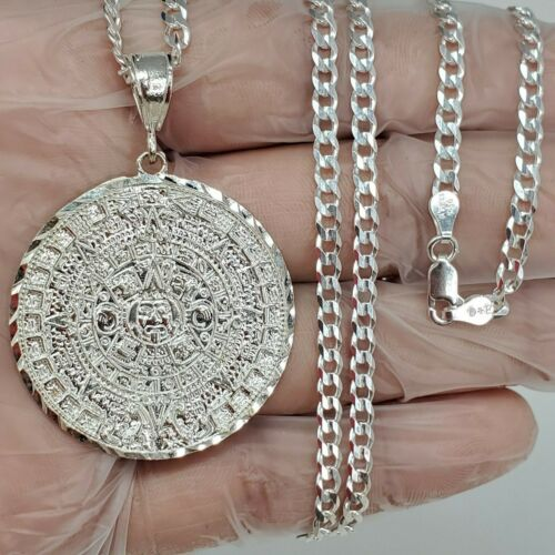 "925 Sterling Silver Azteca Aztec Maya Calendar Big Pendant Necklace 24"" Cuban"