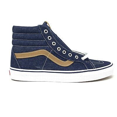 Vans Sk8 Hi Denim C&L Dress Blues Men's 10.5 Tan Skate Shoes New Blue Navy