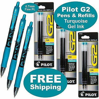 Turquoise Gel Ink Pilot G2 07 Fine Point 3 Pens With 3 Packs Of Refills