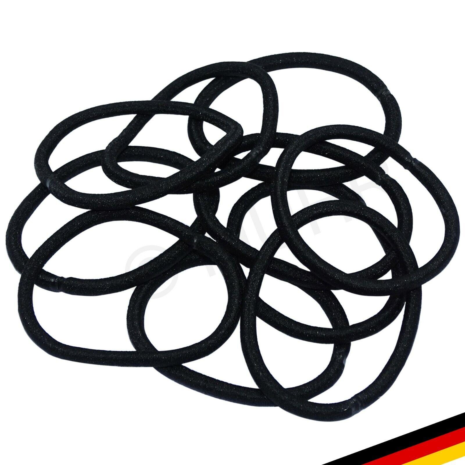 10x Haargummis schwarz 4mm/50mm elastisch Haarzopf Gummiband Pferdeschwanz