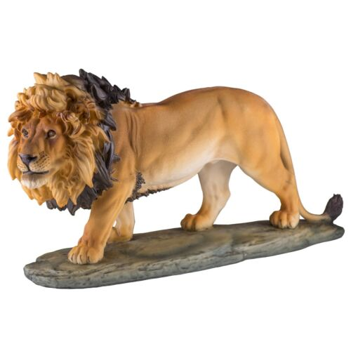 "Large Lion Figurine Resin Statue 12"" Long New In Box"