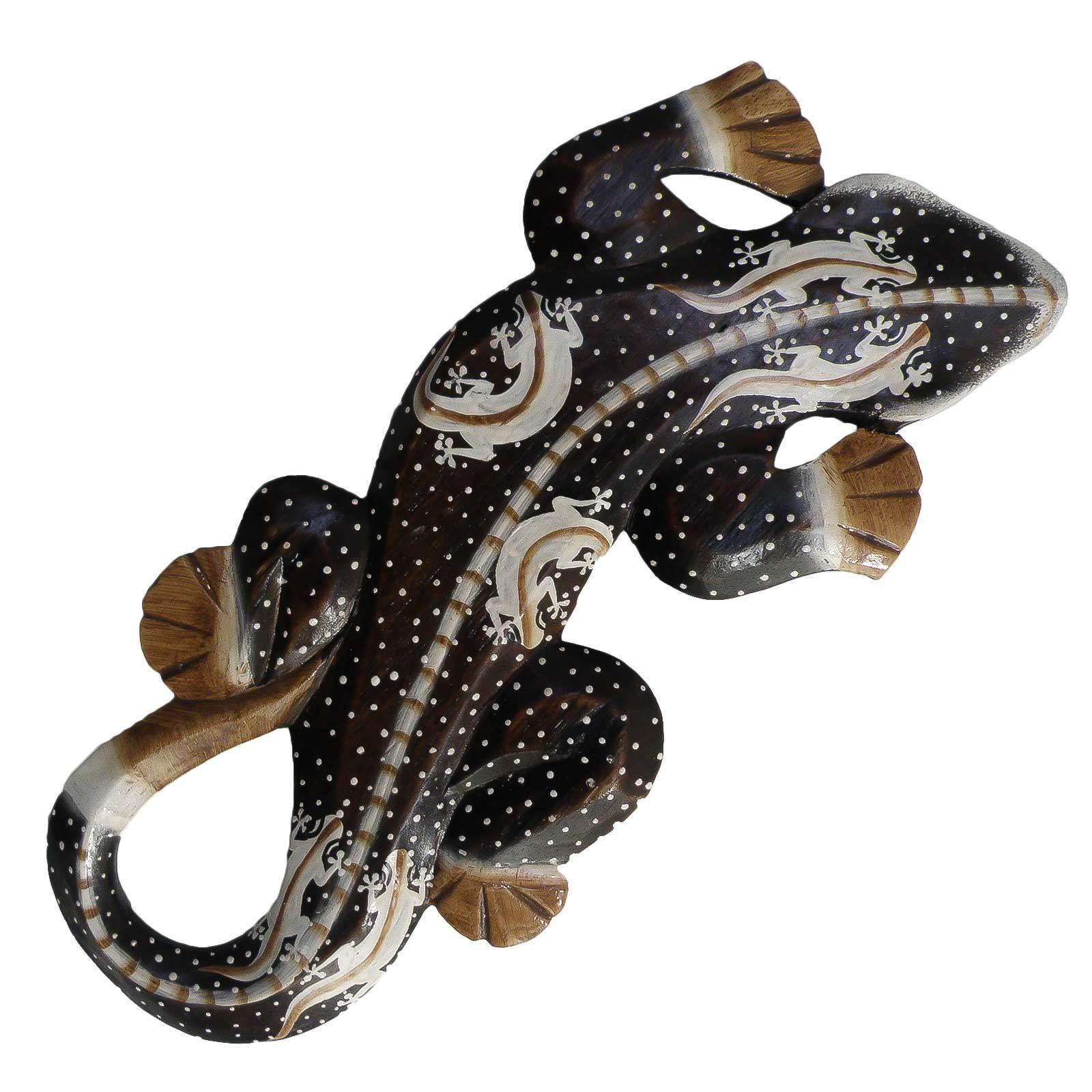 100cm Wanddeko Holzfigur Gecko Echse Salamander grün braun Dot-Paint L