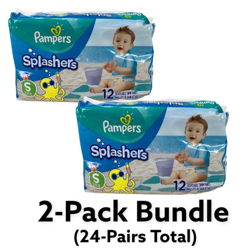 2-PACK (24-PAIR) Pampers Splashers Disposable Swim Pants Diapers Small 13-24 lbs