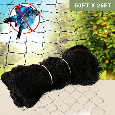 """25'X50' Anti Bird Netting Garden Poultry Aviary Game Plant Protective 2.4"""" Mesh"""