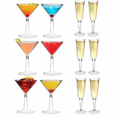 Martini Plastic Cups (Plastic Martini Glasses and Champagne Outdoor Cocktail Flutes Dining Cups)