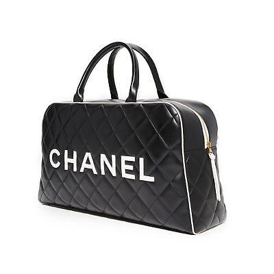 Chanel Logo Buchstaben Vintage Gesteppt Reisetasche Reise Tragetasche ()