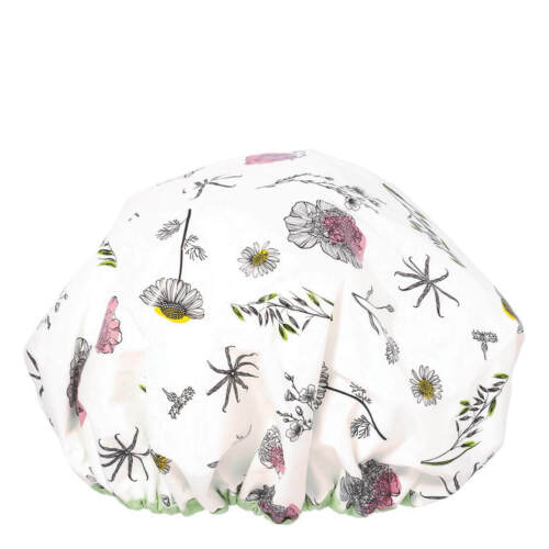 NEW NWT Spa Klorane Terrycloth Boufant Shower Cap Flower Print