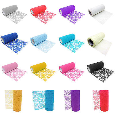 15cm 10 Yards Floral Lace Roll Chair Sashes Cover DIY Bows Wedding Table Runner - Diy Wedding Chair Covers