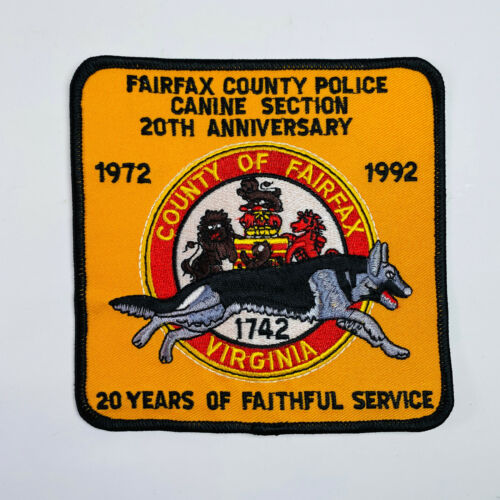 Fairfax County Police K9 Canine 20th Anniversary 1972 1992 Virginia Patch