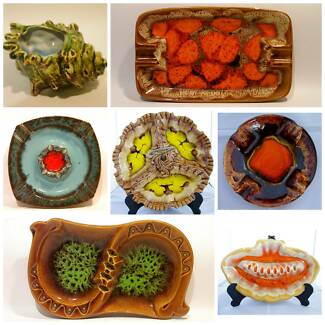 Vintage Japanese Drip Glaze Ceramic Pottery Art Ashtrays 20 SET
