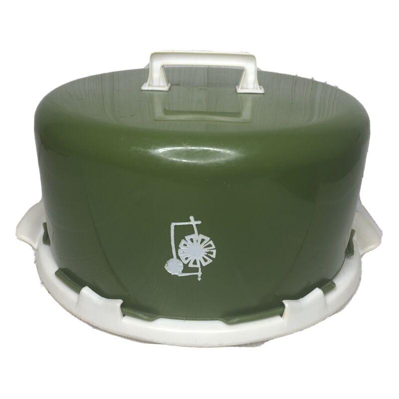 Cake Carrier Saver Retro Vintage Green White Plastic