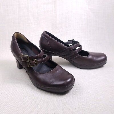 Clarks Artisan Mary Jane Heels Brown Leather Double Strap Size 7 M - Double Strap Mary Jane Heels