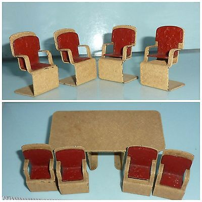 Art Deco Dolls House metal furniture Jacqueline Dining Room Set Table 4 Chairs