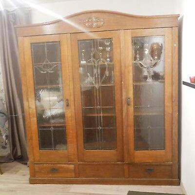 Schrank Eiche, antik, facettierten Glasschliff, Bleiverglasung , Schreinerarbeit