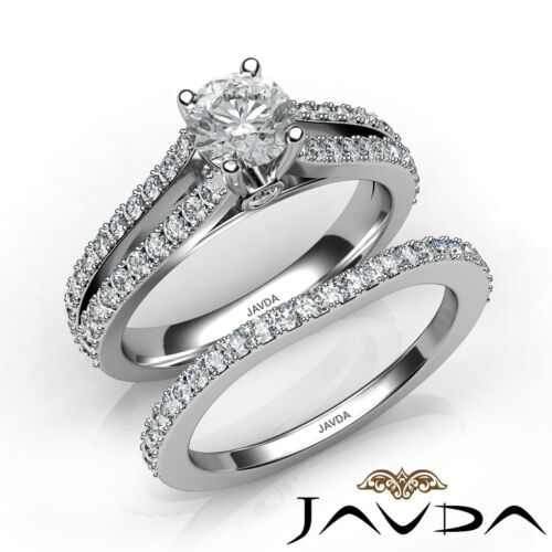 Round Diamond Engagement GIA E VVS2 Platinum Bridal Set Split Shank Ring 1.6ct