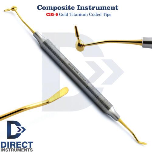 Dental Composite Instrument #6 Titanium Gold CIG6 Plastic Filling Restorations