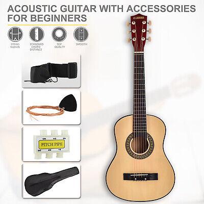"Beginner Natural 30"" Acoustic Guitar w/Carrying Bag, Nylon Strings, Accessories"