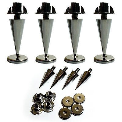 4x Premium Chrome Speaker Spikes –Cabinet Base Support Stand–Noise Isolation (Hi Fi Support Rack)