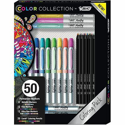 50 BIC Coloring Gift Pack Permanent Markers & Coloring Pencils, Assorted