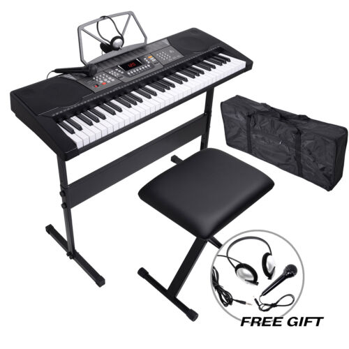 61 Key Electronic Keyboard Piano Organ w/Microphone+Stand+St