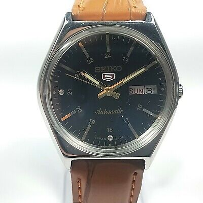 Vintage Seiko 5 Automatic Movement Day Date Dial Mens Analog Wrist Watch A213