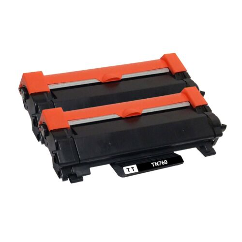2 x Compatible TN760 Toner Cartridge New Chip for Brother HL-L2370DW MFC-L2750DW