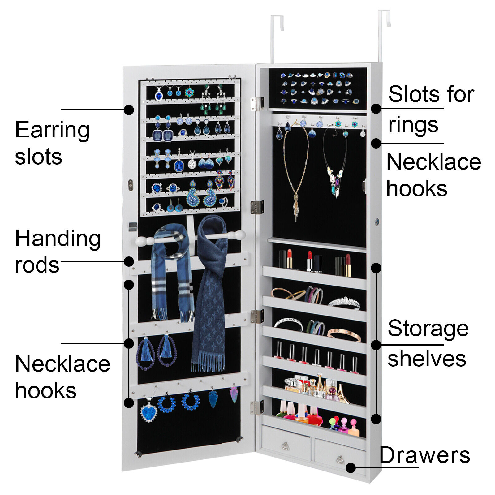 Wall Door Mounted Jewelry Cabinet Armoire Large Jewelry Box