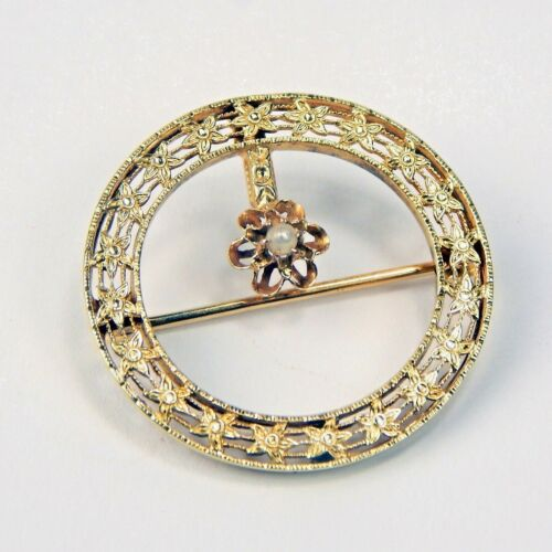14k Gold Early 20th Century Filigree Seed Pearl Floral Circle Pin / Brooch #9897