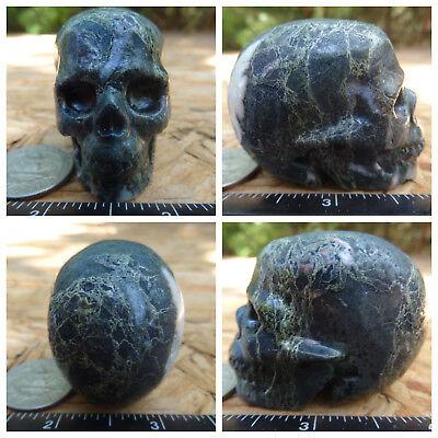 "2.09"" Camouflage Jasper Skull Carved 119g 4.2oz Crystal aka Poppy Realistic Camo"
