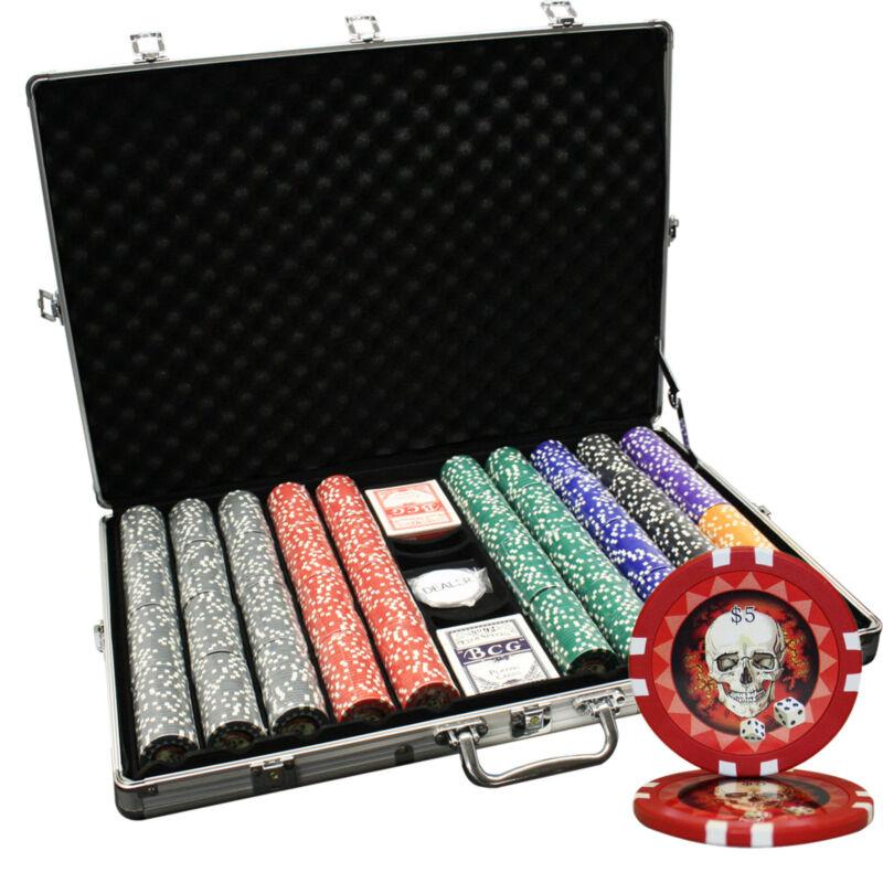 1000ct Aluminum Case Poker Chip Set Skull Custom Build