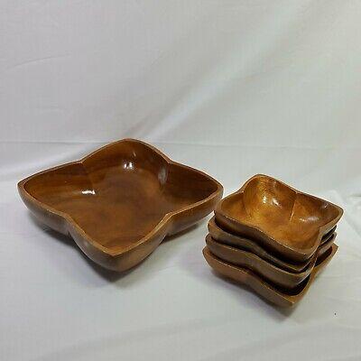 Philippine Imports Monkey Pod Wood 5 Piece Bowl Set Vintage Salad Bowl Set
