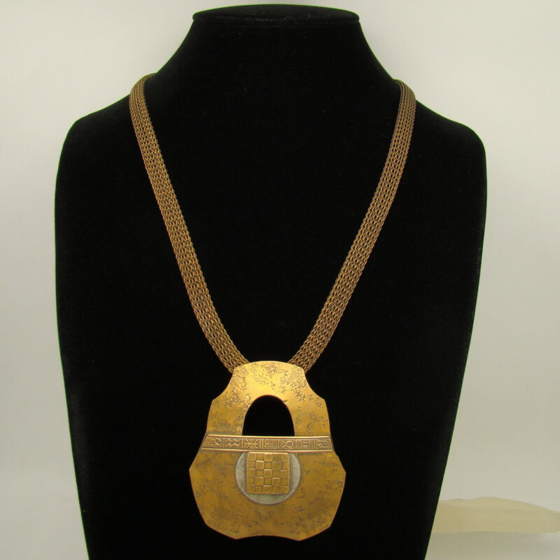 Marjorie Baer SF Earlier Symbolic Glyphs Hammered Effect Necklace