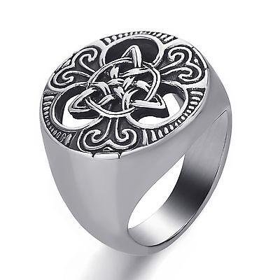 Men Women Silver Celtic knot Triquetra Magic 316L Stainless Steel Ring Size 8-13