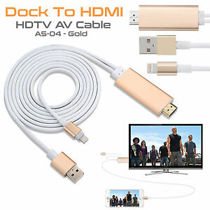 8 Pin Lightning Cable Digital AV Adapter HDMI TV Lead For iPad iPhone 6 6S Plus