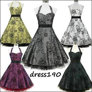 dress190-HALTER-FLOCK-TATTOO-50s-60s-ROCKABILLY-VINTAGE-PROM-PARTY-DRESS-8-26