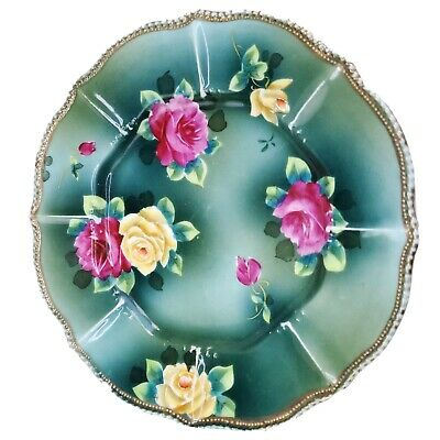 Vintage Hand Painted Moriage 6 Blue Plate with Blue and Pink Flowers